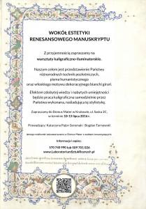 Zaproszenie na warsztaty kaligraficzno-iluminatorskie kopia